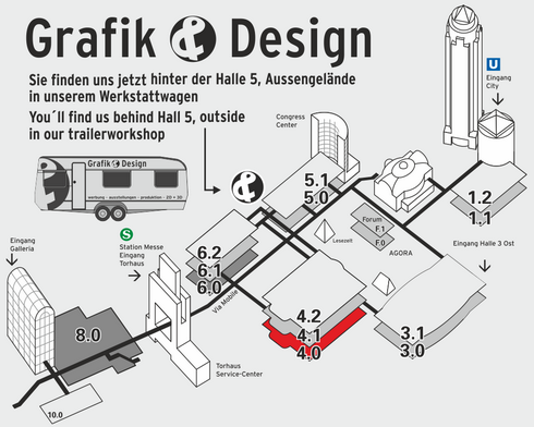 Messeplan mit Grafik und Design Position